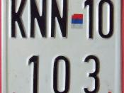 CROATIA, KNIN, KRIJINA SERB OCCUPIED CROATIA 1992-98 ---MOTORCYCLE LICENSE PLATE
