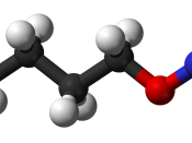 Ball-and-stick model of the butyl nitrite molecule, an alkyl nitrite used in poppers, an inhalant drug that induces a brief euphoria.