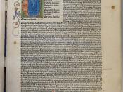 Leaf a1r of an incunable edition of Boethius's De consolatione philosophiae (Nuremberg: Anton Koberger, 23 June 1486; ISTC ib00781000) with small illuminated roundel with red and blue penwork extensions in fore-edge margin