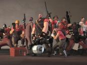 From left to right: Pyro, Engineer, Spy, Heavy, Sniper, Scout, Soldier, Demoman, Medic