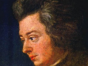 English: Detail of the unfinished portrait of Mozart by Joseph Lange. Français : Détail du portrait inachevé de Mozart par Joseph Lange.