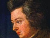 English: Detail of the unfinished portrait of Mozart by Joseph Lange. Français : Détail du portrait inachevé de Mozart par Joseph Lange.