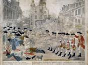 This engraving by Paul Revere, portraying the Boston Massacre with a patriot's bias, shows the Old State House sitting prominently behind the action.