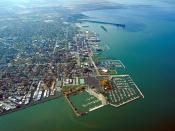 English: Aerial view of Sandusky, Ohio, USA. The view is to the west-southwest along the waterfront on Sandusky Bay, a large inlet and bay off of Lake Erie.