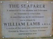 English: Plaque on The Seafarer Statue, Montrose