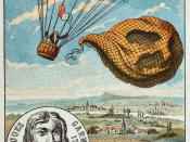 Garnerin releases the balloon and descends with the help of a parachute, 1797. Illustration from the late 19th century.