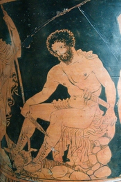Odysseus consulting the shade of Tiresias. Side A from a Lucanian red-figured calyx-krater, 4th century BC.