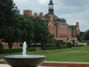 English: Photo of exterior view of the Student Union building from the front of Edmon Low Library at Oklahoma State University, Stillwater, OK, USA