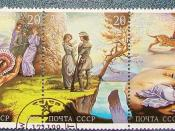 English: A line of USSR 1989 stamps, Leatherstocking Tales by James Fenimore Cooper. Русский: Почтовые марки СССР 1989 года, посвященные творчеству Дж. Ф. Купера, сцепка.