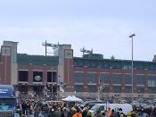 The renovated Lambeau Field on game day.