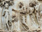 English: Genesis : God the Father forbids Eve to pick the fruit from the tree of good and evil; marble bas-relief on the left pier of the façade of the cathedral; Orvieto, Italy