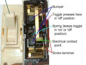 Opened light switch, with explanations