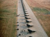 English: F-117A Stealth fighter aircraft from the 37th Tactical Fighter Wing, Tonopah Test Range, Nev., line the runway after arriving for an overnight stay while deploying to Saudi Arabia during Operation Desert Shield. Location: LANGLEY AIR FORCE BASE,