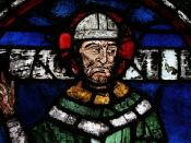 Stained glass window of St. Thomas Becket in Canterbury Cathedral.