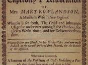 Front Page of Mary Rowlandsons A True History of the Captivity and Restoration of Mrs. Mary Rowlandson, a Minister's Wife in New-England, First edition London 1682. From the Special Collections of the University of Pennsylvania Library.