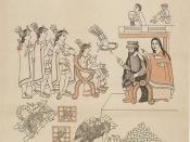 Tenochtitlan, Entrance of Hernan Cortes. Cortez and La Malinche meet Moctezuma II. , November 8, 1519