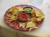 Tortilla chips, salsa, and guacamole from the Restaurant Weisshorn, Zermatt, Switzerland