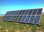 English: Solar panel installation at an information center adjacent to Ögii Lake