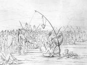 Sketch of a Sioux Sun Dance by George Catlin