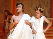 Ewen Leslie as Cassius and Andrew Hansen as Mark Antony performing in the play Dead Caesar.