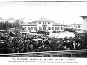 English: Emergency Hospital at the Pan-American Exposition in 1901, the crowd is awaiting the result of the surgical operation just after President William McKinley was shot by Leon Czolgosz.