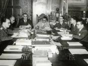 English: Members of the Revolutionary Government Junta of Venezuela, from left to right: Mario Ricardo Vargas, Raúl Leoni, Valmore Rodríguez, Rómulo Betancourt, Carlos Delgado Chalbaud, Edmundo Fernández and Gonzalo Barrios. Miraflores Palace, 1945.
