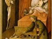 Mors (Death) coming for a miser in a painting by Bosch