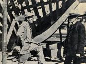 English: Jack London at the building of his ship The Snark 1906