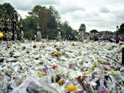 These photographs were taken at dusk and are of flowers and tributes left at Kensington Palace soon after the death of Princess Diana on 31 Aug 1997
