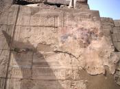 English: Relief of the god Amun crowning Pharaoh Amenhotep III - Luxor Temple - Egyptian Eighteenth Dynasty Français : Relief représentant le dieu Amon couronnant le pharaon Aménophis III - Temple de Louxor - XVIIIe dynastie égyptienne