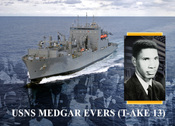 English: WASHINGTON (Oct. 9, 2009) The Secretary of the Navy the Honorable Ray Mabus, a former governor of Mississippi, is honored to announce that the Navy will name a dry cargo ammunition ship after the civil rights leader Medgar Evers. The future USNS