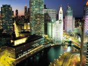 English: Downtown Chicago, Illinois at night. The small building on the left was demolished for Trump International Hotel and Tower (Chicago).