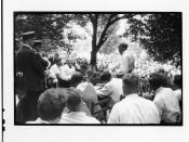 Tennessee v. John T. Scopes Trial: Outdoor proceedings on July 20, 1925, showing William Jennings Bryan and Clarence Darrow. [2 of 4 photos]