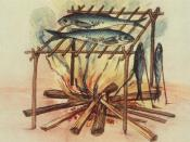 English: Equipment for curing fish used by the North Carolina Algonquins. Deutsch: Anlage der North Carolina Algonkin zum Räuchern von Fisch.