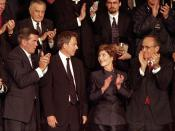 British Prime Minister Tony Blair (center, left) Mrs. Laura Bush attends a joint session of Congress in which President Bush praised the efforts of New York Mayor Rudolph Giuliani (far right) and named Pennsylvania Governor Tom Ridge (far left) to a newly