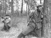 Belarussian partisans in the forest near Polotsk, Belarussian SSR September 1943.