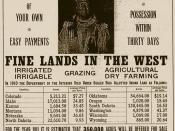 English: United States Department of the Interior advertisment offering 'Indian Land for Sale'. The man pictured is a Yankton Sioux named Not Afraid Of Pawnee