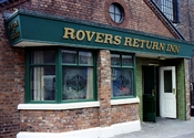 A replica of the The Rovers Return pub, from the British soap opera Coronation Street. This pub, open to the public, was located on the Granada Studios Tour Manchester, England, in the same complex as the set used on the show.