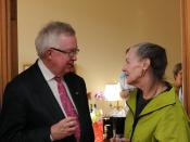 English: Former Canadian Prime Minister Joe Clark talking with Progressive Conservative Senator Elaine McCoy (Alberta) in Centre Block, Parliament Hill, Ottawa, Canada.