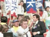 English: Photo of Joe Clark taken on the floor of the Progressive Conservative leadership convention, 11 June 1983. Photo taken by Alasdair Roberts.