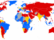 World map of travel and residence restrictions against people living with HIV/AIDS. blue: no specific entry and regulation targetting people with HIV/AIDS. orange: information is contradictory, restrictions are possible. red: entry and residency restricti