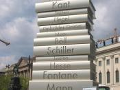 """Modern Book Printing"", fourth sculpture (from six) of the Berliner Walk of Ideas on the occasion of 2006 FIFA World Cup Germany. Unveiling: 21 April 2006 at Bebelplatz, square near the Unter den Linden in front of Humboldt University. It is to commemorat"