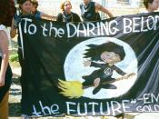 English: Young anarchist feminists at anti-globalization rally and protest quote Emma Goldman.