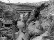 British trench near the Albert–Bapaume road at Ovillers-la-Boisselle, July 1916 during the Battle of the Somme.