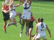 Matthew Pavlich flies for a mark in an AFL game against Melbourne