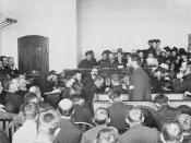 Louis Riel speaking at his trial