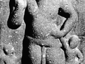 English: Horned god Nejamesa (or, Naigamesa) of the Indian sub-religion Kaumaram. Possibly from the Shugnu period (1st-2nd century B.C), or earlier. The deity Naigamesa is apparently the same as Nejamesa mentioned in the Khilas of the Rig-Veda as a son-gr