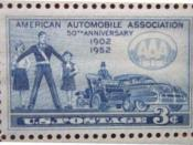 English: The stamp issued on March 4, 1952, in Chicago, Illinois, commemorated the 50th anniversary of the American Automobile Association (AAA) and promoted the AAA's Safety and Accident Prevention Program, showing a school safety patrol member in additi