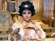 Screenshot of Elizabeth Taylor from the trailer for the film Cleopatra.