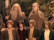 The eponymous Fellowship from left to right: (Top row) Aragorn, Gandalf, Legolas, Boromir, (bottom row) Sam, Frodo, Merry, Pippin, Gimli.